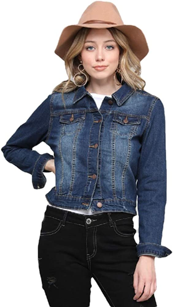 Womens Casual Denim Jean Jackets Classic Vintage Long Sleeve Stretch Button Down Cropped Coat Trucker