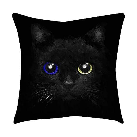 VJGOAL Moda Lindo Negro Ojos de Gato impresión en casa Decorativo Suave sofá cómodo Cojín Cuadrado Funda de Almohada(45_x_45_cm,Negro4)