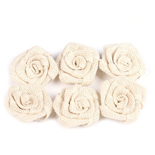 Junxia Bud Silk Linen Little Rose for Children Holiday Party Decoration Christmas Wedding Decoration 12pcs (ivory) by Junxia (Image #1)