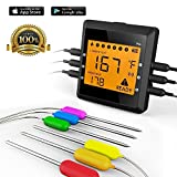 #9: Digital Meat Thermometer for Grilling, ICOCO Best Instant Read Meat Thermometer with 6 Probes Ultra Fast Easy Electronic BBQ and Kitchen Food Thermometer for Cooking, Oven ,Smoking ,Candy (Black)