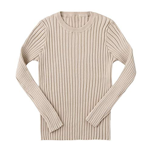 (Baby Toddler Girls Boys Knitted Sweater Winter Fall Clothes Tops 1-5 Years Old,Kids Ribbed Warm Pullover Coat (2-3 Years Old, Khaki))