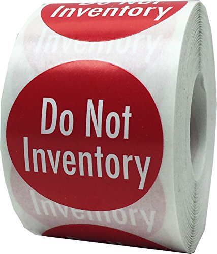 Do Not Inventory Labels Red with White 1.5 Inch Round Circle Dots 500 Adhesive Stickers On A Roll