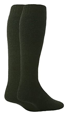 e08a67ddb Workforce - 2 Pack Mens Thick Warm Long Knee High Wool Blend Cushioned  Wellington Boot Work Socks Size 6-11 UK (2 pack
