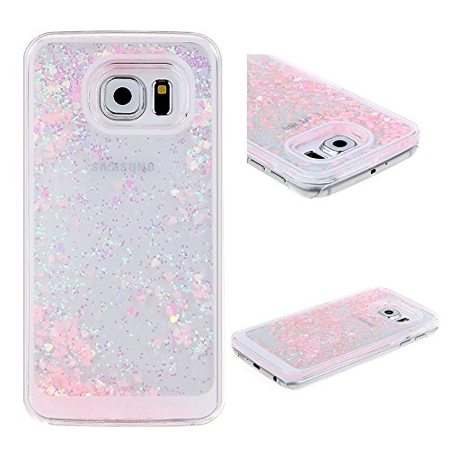 Rejected all traditions 3D Bling Dynamic Flowing Liquid Glitter Water Sparkly Quicksand Love Heart Case Cover For Samsung Galaxy S6 edge plus G928 - Pink