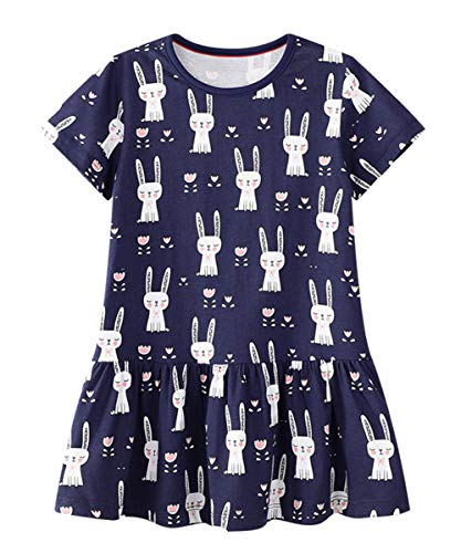 LNKXRTYKids Cotton Dresses Baby Casual Dress Girls Cute Cartoon Dress Toddler Dinosaur Animal Dress 6T Rabbit ()