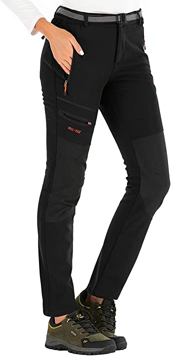 DAFENP Womens Walking Ski Trousers Softshell Fleece Lined Ladies Hiking Trousers Winter Outdoor Windproof Snow Pants