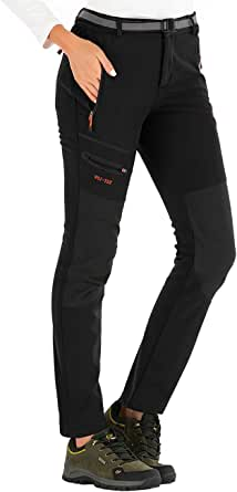DAFENP Pantalones Trekking Mujer Invierno Impermeables Pantalones Termicos Montaña Senderismo Esqui Nieve Polar Forrado Aire Libre