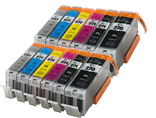 12 Pack Compatible W/Gray Sherman Ink Cartridge Replacement for Canon PGI-270XL CLI-271XL High Yield (2 Black, 2 Cyan,2 Magenta,2 Yellow,2 Big Black,2 Grey) Printer Pixma MG7720 Cli 271 Pgi 270 XL