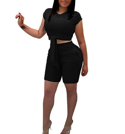 Doufine - Traje Corto para Mujer con Corbata Frontal + Pantalones ...