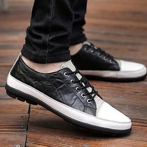 Abby 8001 Leader Mens Lace Up Skateboard Chaussures Casual Loisirs Confortable Bussiness Conduite Cuir Noir