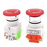 uxcell 2pcs NO/NC 4 Screw Terminal Mushroom Emergency Stop Push Button Switch