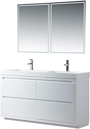 Vanity Art 60 Inches Double Sinks Floor Standing Bathroom Vanity Set 2 Drawers Storage Cabinet