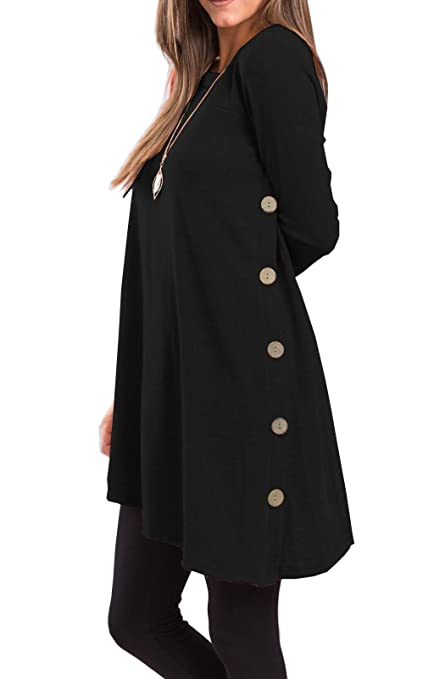 Women's Long Sleeve Scoop Neck Button Side Tunic Winter Dress
