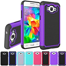 Grand Prime Case, Asstar Hybrid Dual Layer Defender Protective Shock Absorbing Rugged Cover Skin Shell Case Cover for Samsung Galaxy Grand Prime. Bundle with Tempered Glass Film (Purple)