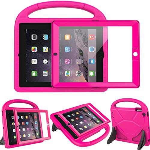 (LEDNICEKER Kids Case Built-in Screen Protector for iPad 2 3 4 - Light Weight Shock Proof Handle Friendly Convertible Stand Kids Case Compatible for iPad 2 3rd 4th Generation - Magenta/Rose)