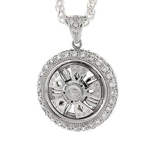Spinner Wheel Pendant - Hip Hop Jewelry for Men Iced Out Sterling Silver CZ Spinner Wheel Pendant CZ Tire, 1 5/8 inch Round