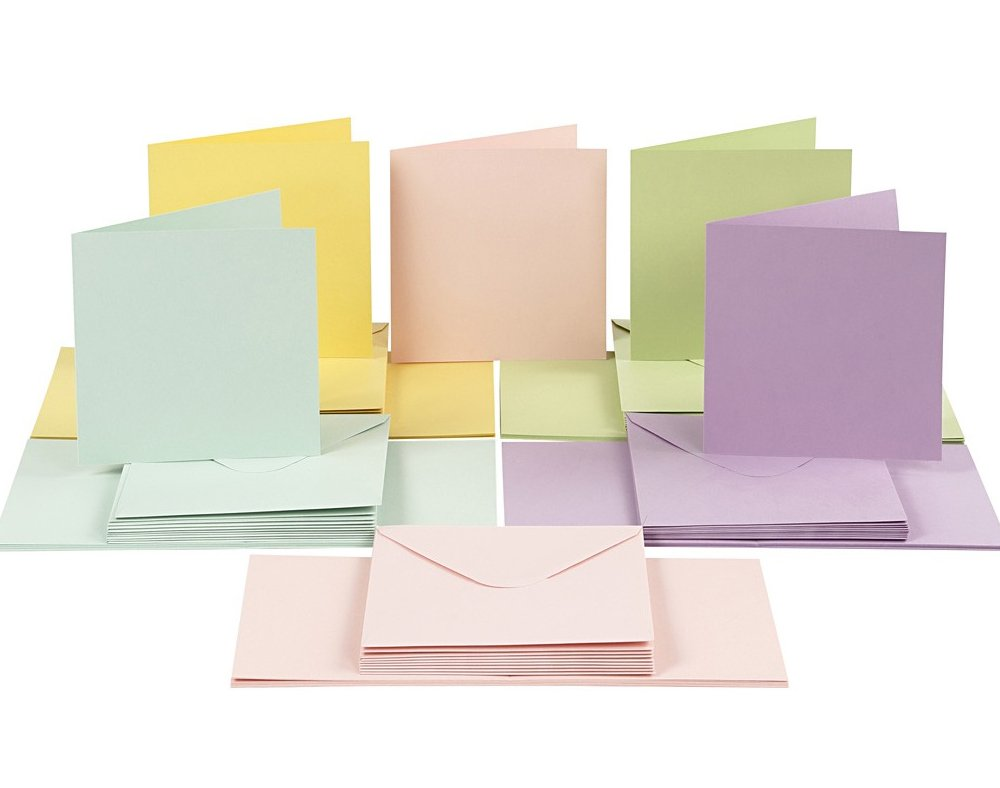 50 Pastel 15cm Square Cards and Envelopes - Card Making Crafts Crafty Capers