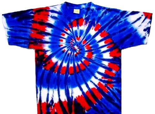 Wild Tie Dye - Tie Dyed Shop Red White (Wild) Blue Spiral Tie Dye T Shirt-3X-Multicolored