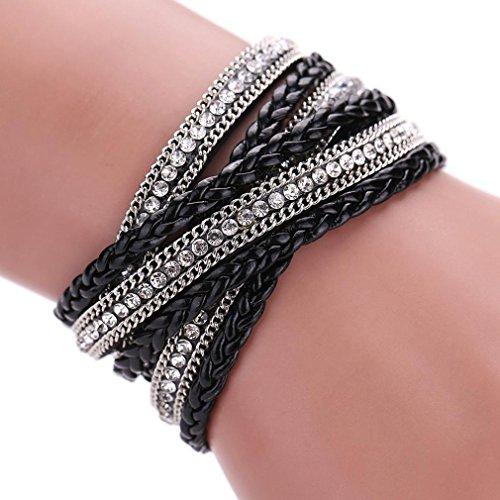 Welcomeuni Women Bohemian Bracelet Woven Braided Handmade Wrap Cuff Magnetic Clasp (Black) (Costumes For Cheap)