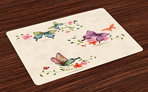 Ambesonne Butterfly Place Mats Set of 4, Butterfly Collection on Vintage Background Spiritual Wings Moth Transformation, Washable Fabric Placemats for Dining Room Kitchen Table Decor, Multicolor