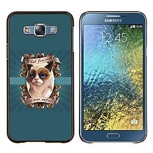 TECHCASE---Cubierta de la caja de protección para la piel dura ** Samsung Galaxy E7 E700 ** --Me divertí vez Funny Cat
