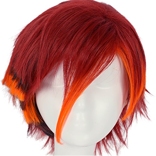 Toralei Stripe Wig Hair Monster High Claret-red Short Straight Wig Cosplay Props ()
