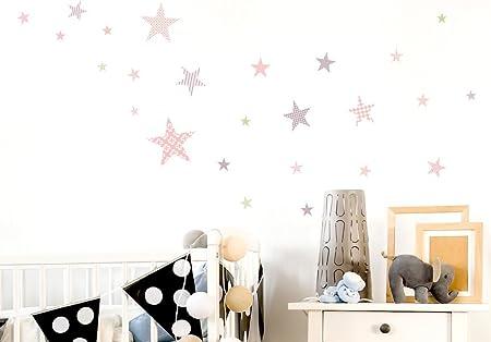 Pegatina de Pared Set habitaci/ón Infantil Estrella con Las pautas de los ni/ños para Pegar Mural Pegatinas