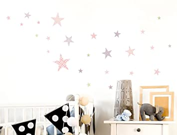Wandtattoo Kinderzimmer Wandsticker Set Sterne mit Muster für ...