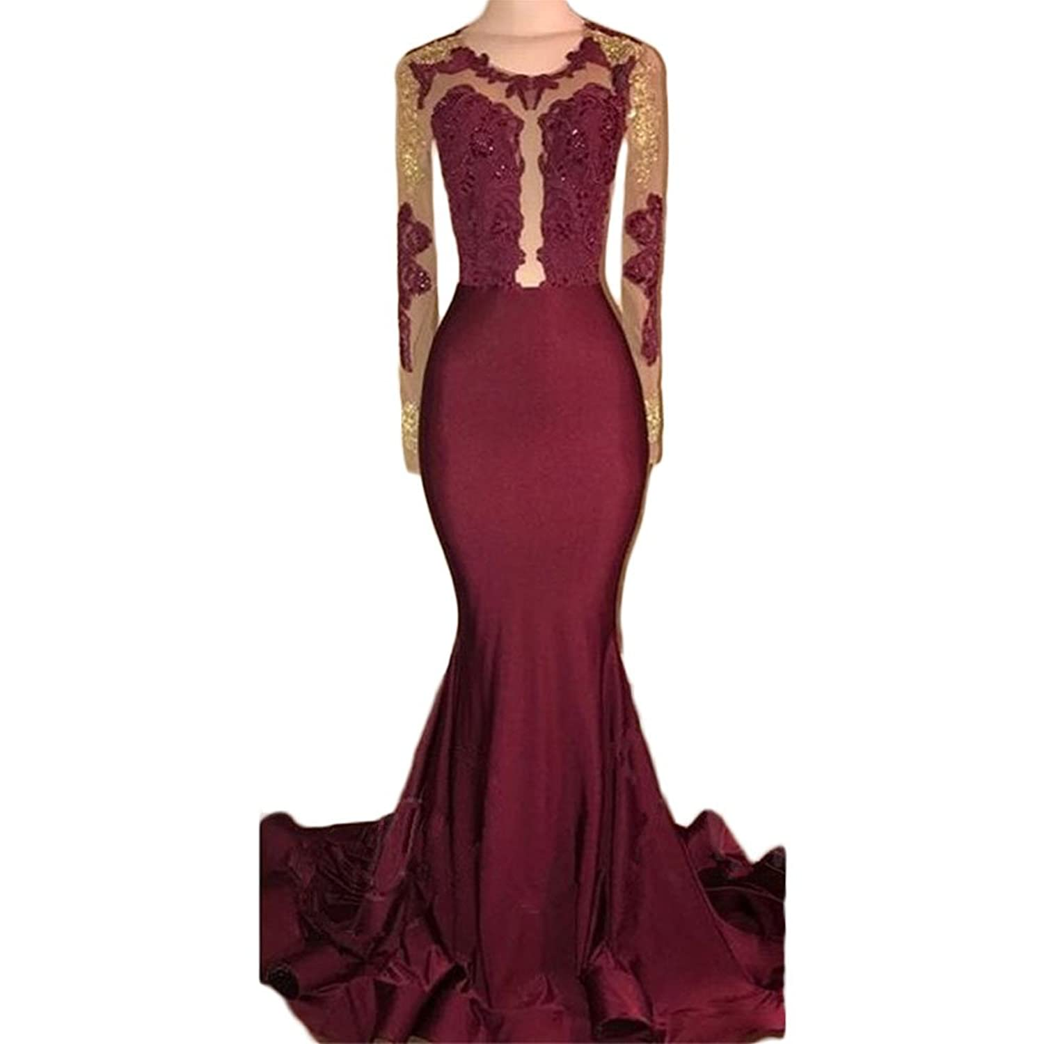 GoDressy Sexy Mermaid Burgundy Evening Gowns Long Sleeves Illusion Occassion Dresses at Amazon Womens Clothing store: