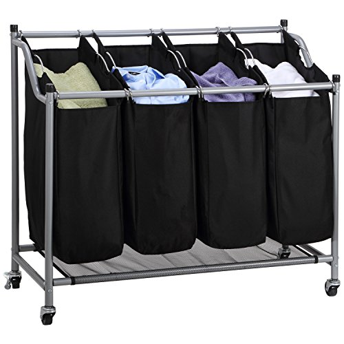 4 Bag Laundry Sorter Carts On Wheels To Make Laundry Day