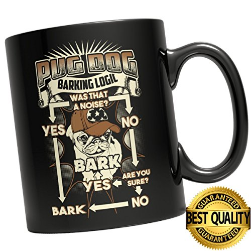 Big Bad Wolf In Grandma Dress Costumes (BEST QUALITY, PUG DOG BARKING. . . MUG,11 ounces sized,Special Family Gift, Love Dogs, 11Oz Black Coffee Mug)