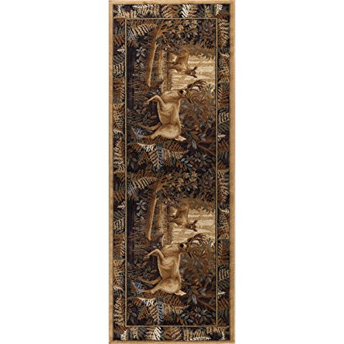 Fawn Flooring - 2'7 x 9'10 Tan Brown Deer Runner Rug Rectangle, Indoor Red Beige Fawn Pattern Flooring Hallway Carpet Hunting Lodge Theme Cabin Entryway Wildlife Trees Forest Bush Entrance Way, Polypropylene
