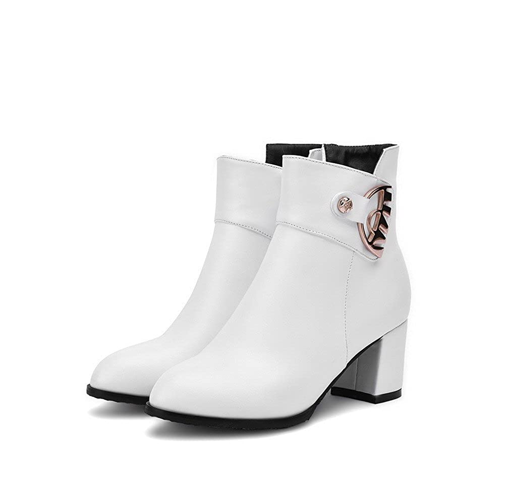 8b5907cea68c ... AmoonyFashion Women s Women s Women s Round Closed Toe Kitten-Heels  Soft Material Low-top Solid ...