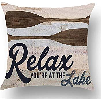 WePurchase Retro Blue Word Art Relax You're at The Lake Quote Brown Paddle Summer Decoration Cotton Linen Decorative Home Sofa Living Room Throw Pillow Case Cushion Cover Square 18x18 Inches