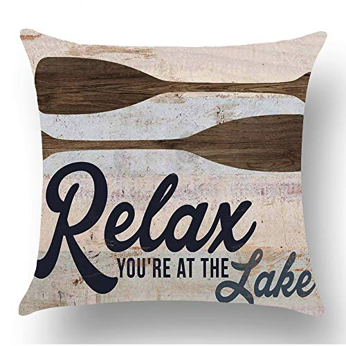- WePurchase Hand Painted Retro Blue Word Relax You're at The Lake Quote Brown Paddle Decoration Cotton Linen Decorative Home Sofa Living Room Throw Pillow Case Cushion Cover Square 18x18 Inches