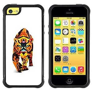 Suave TPU GEL Carcasa Funda Silicona Blando Estuche Caso de protección (para) Apple Iphone 5C / CECELL Phone case / / Polygon Triangle Colorful Puma Cougar Lion Cat /