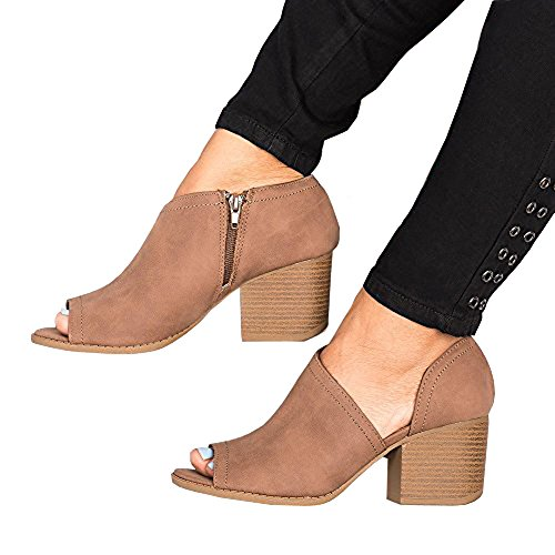 Women Low Heel Ankle Booties Slip On Vegan Suede Leather Cut Out Chunky Block Stacked Peep Toe Ankle Boots Shoes Brown