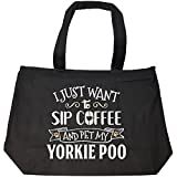 Sip Coffee And Pet My Yorkie Poo Puppy Dog Owner Gift - Tote Bag With Zip
