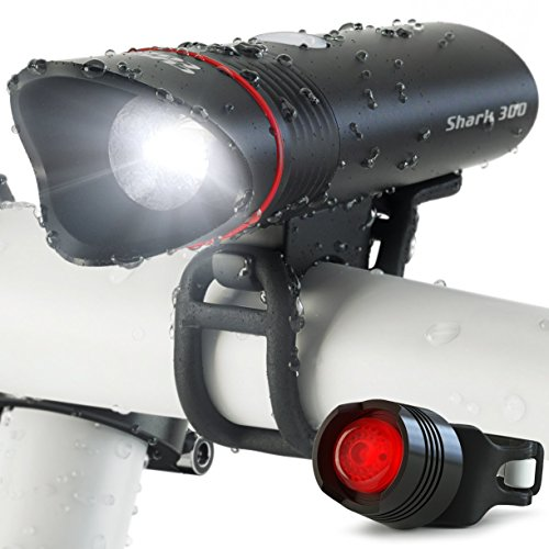 SUPER-BRIGHT-USB-Rechargeable-Bike-Light-Cycle-Torch-Shark-300-Bicycle-HeadLight-TAIL-LIGHT-Included-300-Lumens-LED-Front-Light-Fits-ALL-Bikes-Quick-Release-Flashlight-Set