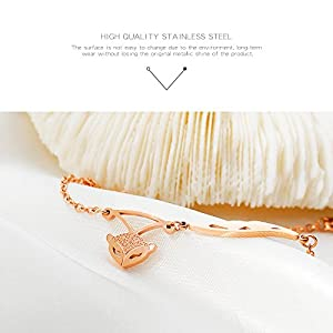 Keybella Anklets for Women Girls Ankle Beads Fox Chains Bracelets Adjustable Beach Anklet Foot