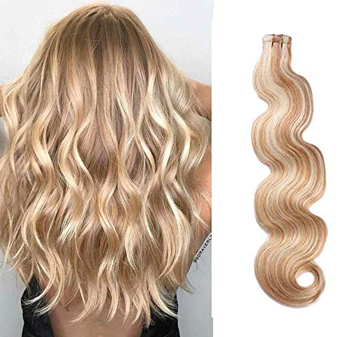 Body Wave Tape in Hair Extensions 20inches Highlights #27 Strawberry Blonde with #613 Blonde Mixed Color 50g 20pcs Remy Seamless Skin Wefts Human hair Glue in Extensions(#27/613) by Smartinnov