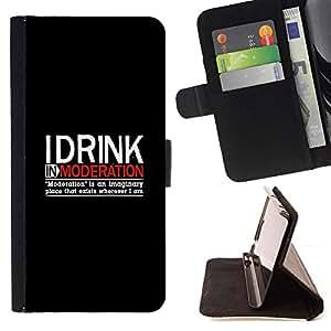 BullDog Case - FOR/Apple Iphone 5C / - / Funny - DRINK IN MODERATION /- Monedero de cuero de la PU Llevar cubierta de la caja con el ID Credit Card Slots Flip funda de cuer