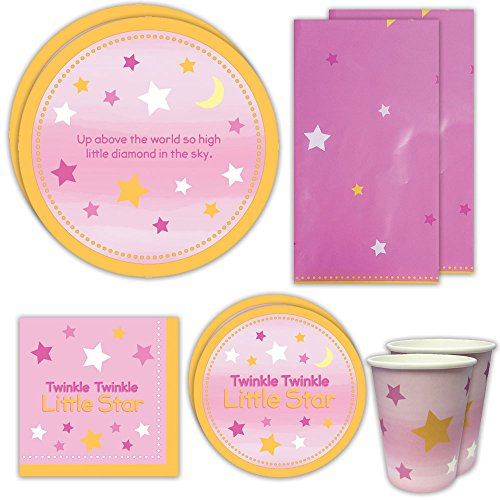 Twinkle Twinkle Girl Deluxe Party Packs (65+ Pieces for 16 Guests!), Babyshower Supplies, Pink Plates, Cups, Napkins, Decorations