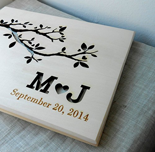 Wedding guest book, rustic guest book, wooden wedding guest book album, personalized custom laser engraved guest - Wooden Wedding Album
