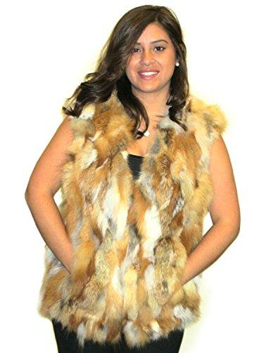 陰謀子供っぽい軽くFursNewYork25インチ自然な赤彫刻キツネの毛皮のベストはアメリカ製