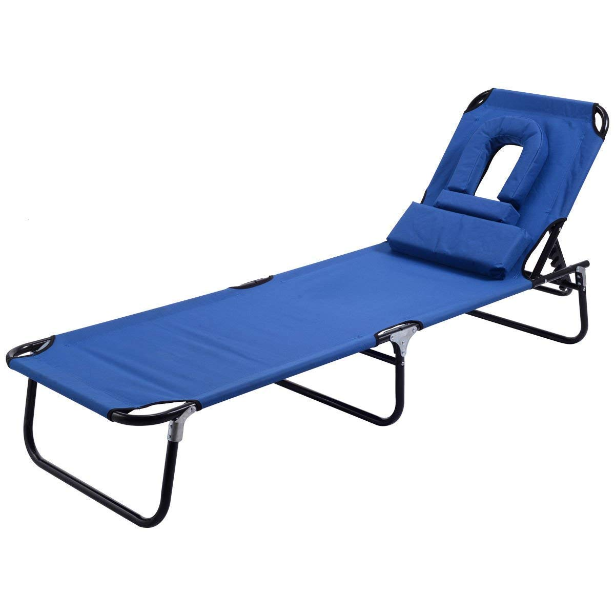 Goplus Folding Chaise Lounge Chair Reclining Adjustable Outdoor Patio Beach Camping Recliner w/Hole for Face Pool Yard, Support 300 Lbs