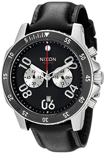 (Nixon Men's A940000-00 Ranger Chrono Leather Analog Display Quartz Black Watch)