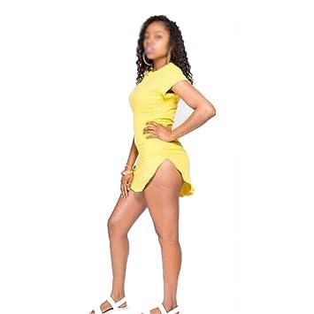 SODIAL (R) amarillo estilo Verano mujeres Sexy vestido vendaje Bodycon playa vestido de noche