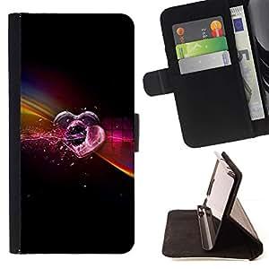 For Samsung Galaxy A3 Case , Amor de neón- la tarjeta de Crédito Slots PU Funda de cuero Monedero caso cubierta de piel