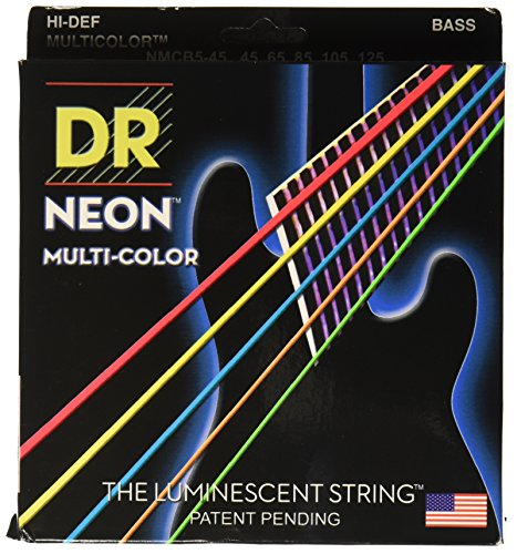 DR Strings NMCB5-45 DR NEON 5 Bass Guitar String, Medium, Mu